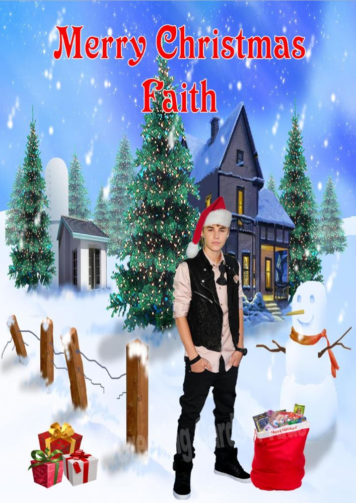 personalised justin bieber christmas card